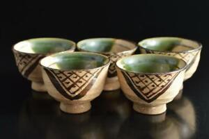 #9721: Japan Old Oribe-ware Green glaze Muffle painting TEA CUP Senchawan 5pcs