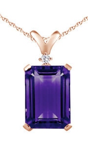6.52 Ct Emerald Purple Amethyst & Simulated 18K Gold Over Solitaire Pendant