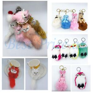 Fluffy Faux Fur Keyring Cute Soft  Animal Handbag Pendant Charm Pompom Keychain