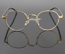 Oval Gold Eyeglass Frame Man Women Plain Glasses Clear lenses engrave Vintage