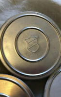 """3 Vintage Bell & Howell 5-1/8"""" Film Metal Canisters, Empty Cans"""