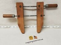 """Vintage Hempe 6614 8"""" Wooden Hand Screw Clamp Vise Made in U.S.A. Carpentry"""