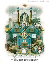 The Light of Masonry Print masonic poster freemason artwork ring
