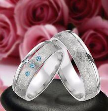 2 SILBER RINGE Trauringe mit echt Diamant & 3 Blautopas  inkl. Gravur J399-13BD