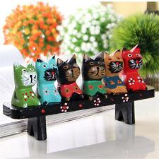 6X Decorative Multi-colored Wooden Cat Figurines Statue Sculpture Cat Lover Gift