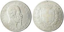 ITALIA , VICTOR EMMANUEL II , 5 LIRE ARGENTO , 1870 M MILAN