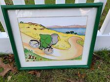 1990 Vintage Framed Babar Elephant Bike Print France Laurent Jean de Brunhoff