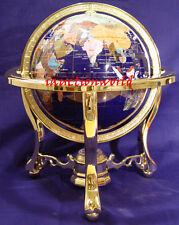 "Unique Art 13"" Tall Blue Ocean Table Top Gemstone World Globe Tripod Leg Gold"