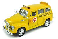 NEW 1950 Chevrolet Suburban Yellow School Bus - 1:36 Scale - Die-cast School Bus