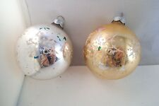 Vintage Pair of Mercury Glass Christmas Ornaments Silver Gold Stencil Snowflake