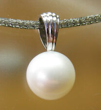 WHITE SOUTH SEA 12.3mm! PEARL 100% UNTREATED +18ct SOLID WHITE GOLD PENDANT+CERT