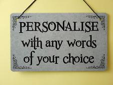 Custom Metal Plaque PERSONALISED Sign INDOOR or OUTDOOR Grey Any words