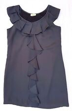 EX CON Review Size 12 Dress Grey Sleeveless Ruffle A-Line Babydoll Mini Event