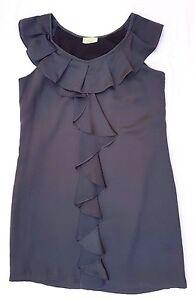 EUC Review Size 12 Dress Grey Sleeveless Ruffle A-Line Babydoll Mini Event Shift
