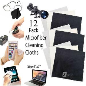 "12Pk    MagicFiber Microfiber Cleaning Cloths Black White Gray Colors Size 6x7"""