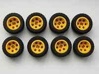 LEGO TECHNIC WHEELS set of 8 30.4x14mm VR Wheel Tire large tyre yellow +