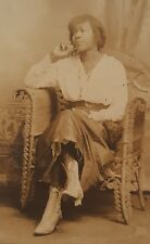 VINTAGE ANTIQUE AFRICAN AMERICAN BEAUTY FASHION BOOTS SKIRT ARTISTIC RPPC PHOTO
