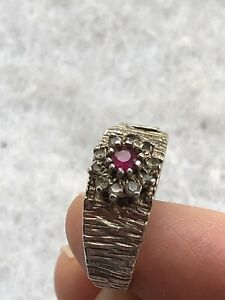 Vintage Silver Ring Brutalist Style Red Stone White Gold On Silver 1960s 1970s