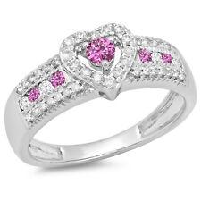 0.55 CT 10K White Gold Pink Sapphire & White Diamond Bridal Heart Promise Ring