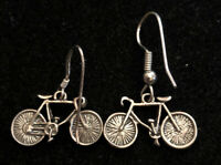 Vintage Sterling Silver 925 3D Bicycle Dangle Hook Earrings