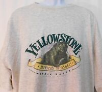 Eddie Bauer Yellowstone Grizzly Tee T-shirt Mens XL Gray Vintage USA Rare