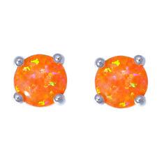 Orange Fire Opal Silver for Women Jewelry Gemstone Stud Earrings 5mm OH4479