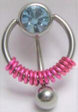 Vch Clitoral Clit Hood Ring 14 gauge Light Blue Pressure Gem Ball Fuchsia Coiled