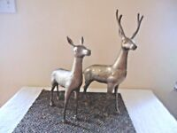 "Vintage Set Of 2 Made In Korea Large Brass Deer,1,Buck,1,Doe "" BEAUTIFUL SET """