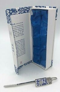 ✅ Chinese Blue & White Porcelain Silver Bookmark Letter Opener Oriental Design ✅