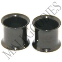 0224 Black Double Flare Flesh Tunnels Earlets Saddle Gauges 00G Plugs 10mm PAIR