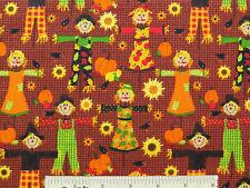 Autumn Fall Boy & Girl Scarecrows Pumpkins Cotton Fabric  Fat Quarter FQ  (F1) ^