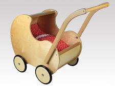 Puppenwagen Holz, RETRO von LARIX-TOYS (R N/N) mit Bettwäsche (SERD)