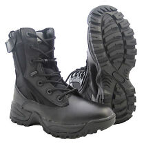 Dual Zipped Black Tactical Boots - Military Style Two Zips Army Shoes All Sizes