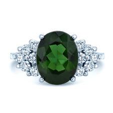 18k Weiss Gold Natürliches Grün Turmalin Diamant Oval Cocktail Ring Natürlich 7