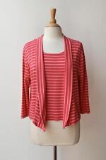 MELA PURDIE Pink Stripe Jersey Top + Lapel Jacket 2 Piece Set 16/18 Fits 14/16