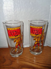 2 - Vintage 1776 Bicentennial Celebration - Tall Drinking Glasses - Soldiers