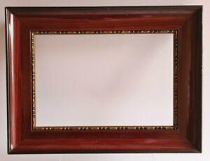 Ancien Cadre Tableau Bois Stuc et plâtre Vernis et doré Logement : 25 x 17,4 cm