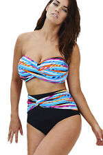 Plus Size Colourful Striped High Waist Bikini Swimsuit swimwear Size UK 14-16