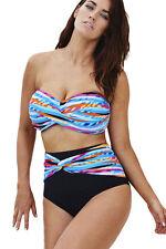 Plus Size Colourful Striped High Waist Bikini Swimsuit swimwear Size UK 14-16
