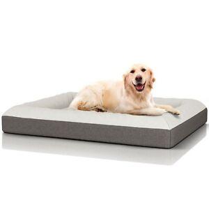 Dog Beds Large Washable Memory Foam Grey Raised Sides Waterproof Pet Luxury UK