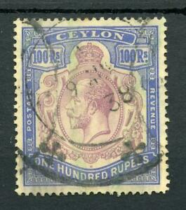 Ceylon 1921-32 100r dull purple and blue fiscal used - see desc