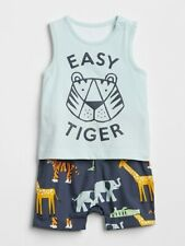 NWT Baby Gap Easy Tiger 2-in-1 Layered Shorty One Piece Romper 6-12 Months Boy