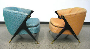 PAIR of Vintage Mid Century Modern Karpen Brothers of California Lounge Chairs