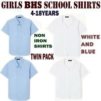 Girls BHS School Blouse Shirt Ages 4 Till 18 Years Pack Of 2 White Or Blue