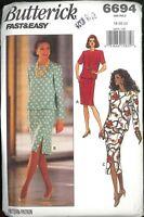 Very Easy Women's Dress Pattern Size 18 20 22 Butterick 6694 Uncut Dropped Waist