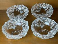 Mikasa Crystal Carmen Pattern Set of 4 Fruit Dessert Salad Bowls Raised Flowers
