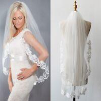 New White/Ivory Wedding Veil Bridal Veils 1T Fingertip Length Lace Applique Edge