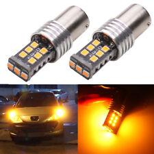2x BAU15S PY21w 1156 S25 LED 15Smd Amber Bulbs For Car Turn Signal Light DC 12V
