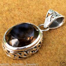 Victorian Vintage Smokey Topaz Jewelry .925 Sterling Silver Filigree Pendant