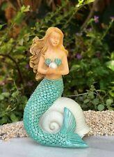 Miniature Dollhouse FAIRY GARDEN Figurine ~ Mermaid on Shell with Pearl ~ NEW